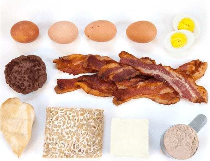 30g of high protein rich food examples like 5 eggs, strips of bacon, protein powder scoop