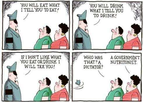 food police cartoon with police telling people who eat and people figuring out the police was actually a nutritionist