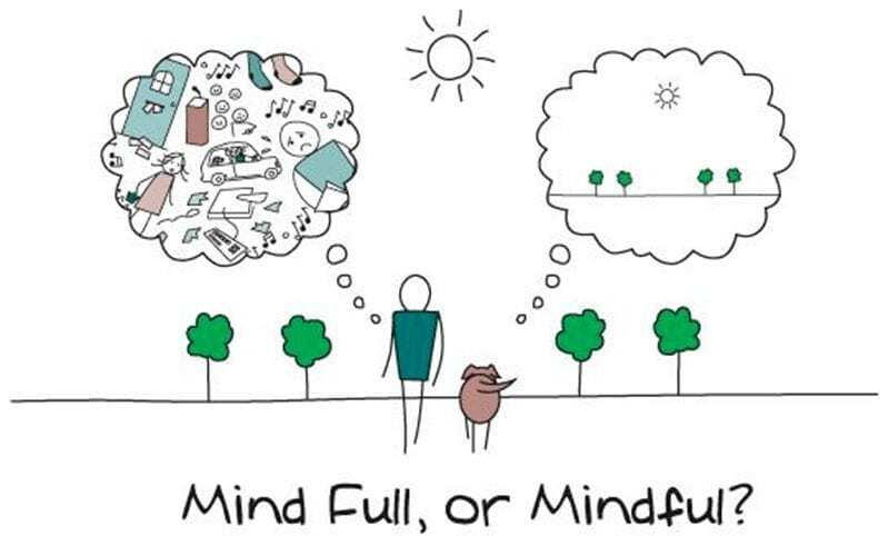 mindful or mind full cartoon image with one mind being full of thoughts while the other mind is mindful and clear of thoughts