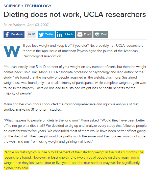 ucla diet long term research showing that dieting and weight loss cause most people to gain weight instead of weight loss