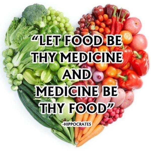 hippocrates quote with a heart image made of food in the background reading - let food be thy medicine and medicine be thy food