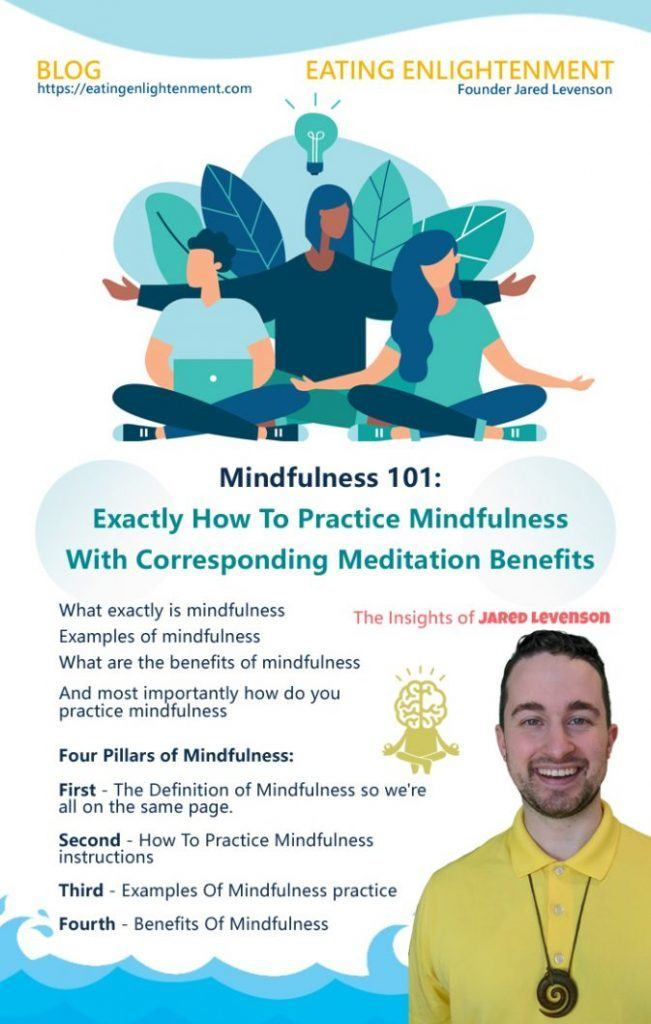 eating enlightenment pinterest image with quote about how to practice mindfulness and get meditation benefits