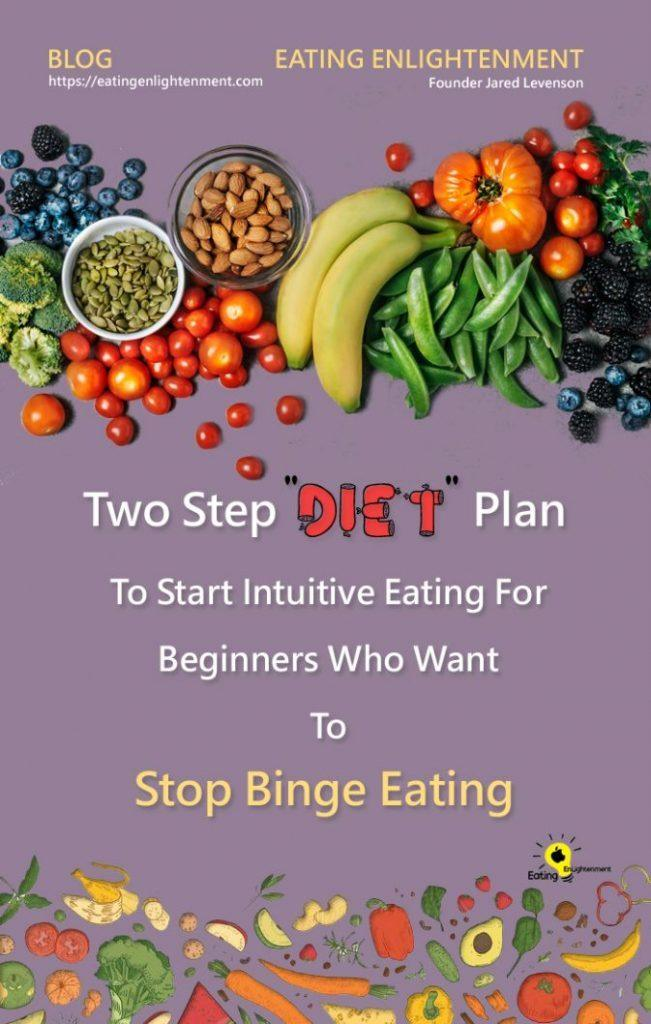 pinterest image with a variety of foods and the title of the blog post about two step diet plan to start intuitive eating
