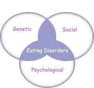 3 main eating disorder causes are genetic, social and psychological