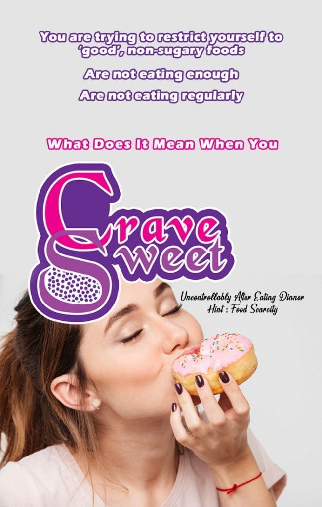 eating enlightenment pinterest image with woman having cravings
