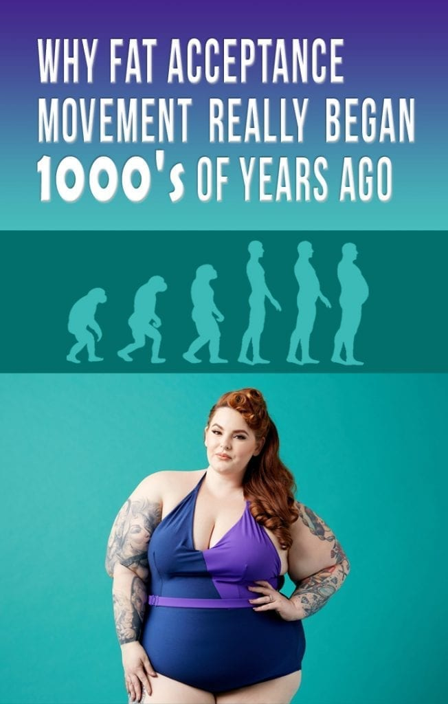 picture of fat woman with images of human evolving