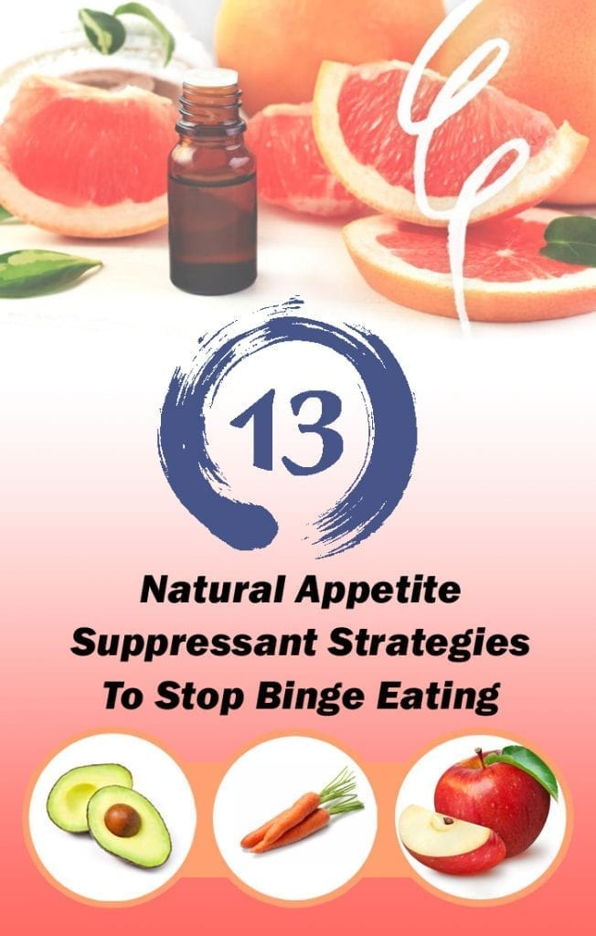 pinterest image with 13 natural appetite suppressant strategies to stop binge eating