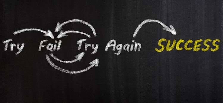 trial and error cycle - try, fail, try, again, success